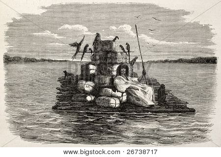 Old illustration of a natiive Peruvian on a barge carrying animals and various goods. Created by Riou, published on Le Tour du Monde, Paris, 1864