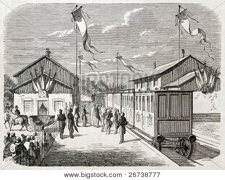 Old illustration of Chalons military camp railway station inauguration. Created by Gaildrau after sketch of Quesnoy, published on L'Illustration Journal Universel, Paris, 1857