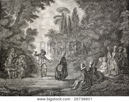 Old illustration of rural dance. Created by Dumont,  published on L'Illustration Journal Universel, Paris, 1857