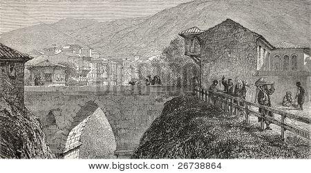 Old illustration of a bridge over Guek-Sou stream, Bursa, Turkey. Created by Gaiaud, published on Le Tour du Monde, Paris, 1864