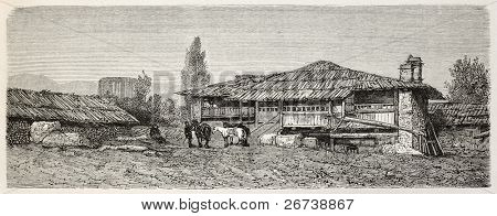 Old illustration of Cavdarihsar konak, Turkey. Created by Gaiaud, published on Le Tour du Monde, Paris, 1864