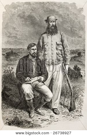 Old engraved portrait of Captain Grant and Captain Speke, famous explorers. Created by Bayard, published on Le Tour du Monde, Paris, 1864