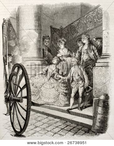 Old illustration of aristocratic young couple boarding a carriage. Created by Moreau, published on Magasin Pittoresque, Paris, 1850