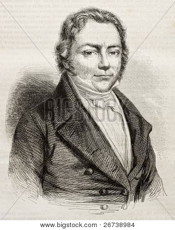 Old engraved portrait of Jons Jacob Berzelius, Swedish chemist. By unidentified author, published on Magasin Pittoresque, Paris, 1850