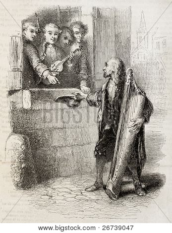 Old illustration of young violin players giving charity through the window to an old harp player. Created by Johannot, published on Magasin Pittoresque, Paris, 1850