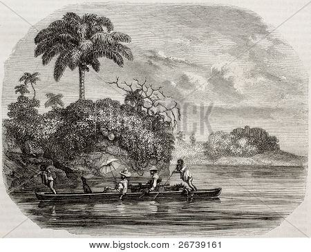 Old illustration of canoe along Usumacinta river, in Central America. Created by Delvaud and Piaut after drawing of Morellet, published on Magasin Pittoresque, Paris, 1850