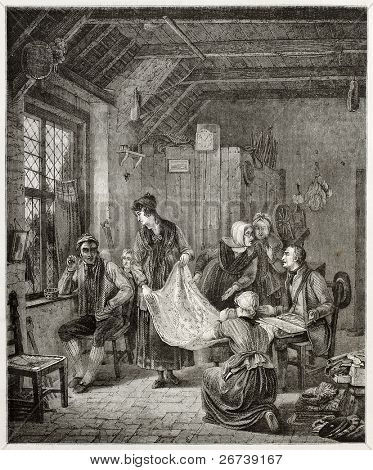 Old illustration of itinerant textiles seller showing his products. Created by Freeman and Quartley after drawing of Wilkie,  published on Magasin Pittoresque, Paris, 1850