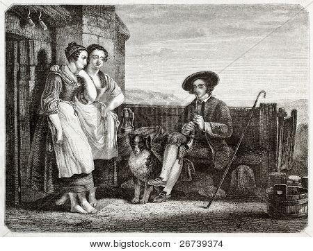 zwei Frauen hören einen Mann spielt Flöte. erstellt von Freeman, veröffentlicht am Magasin malerische, paris