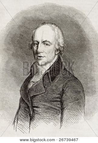 Old engraved portrait of Richard Lovell Edgeworth, Anglo-Irish politician, writer and inventor. Created by Pauquet, published on Magasin Pittoresque, Paris, 1850