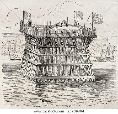 Antiga ilustração de fortificação defensiva durante o cerco de La Rochelle. Autor não identificado,