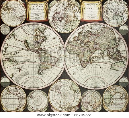 Old double emisphere map of the world surrounded by smallest emispheric projections. Created by Carel Allard, published in Amsterdam, 1696