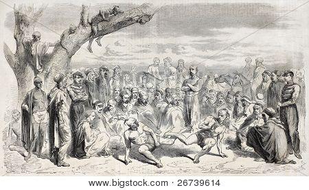 Savate fighting at Beni-Mellikeche (Kabylie, Aleria) during Tikar feast in honour of General Desme-Desmarets. Created by Japy, published on L'Illustration Journal Universel, Paris, 1857