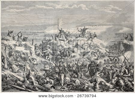 Old illustration of the taking of Malakoff by French army during Crimean war. Created by Yvon, published on L'Illustration Journal Universel, Paris, 1857