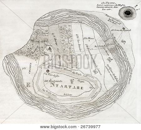 Old map of Underworld, such as described in the Aeneid sixth book. Created by Ratel,  published on Magasin Pittoresque, Paris, 1850