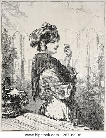 Old illustration of a woman drinking alcoholic beverage. Created by Gavarni, published on L'Illustration, Journal Universel, Paris, 1857