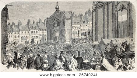 Old illustration of Boulogne-sur-mer procession. Created by Sauvageot, published on L'Illustration, Journal Universel, Paris, 1857