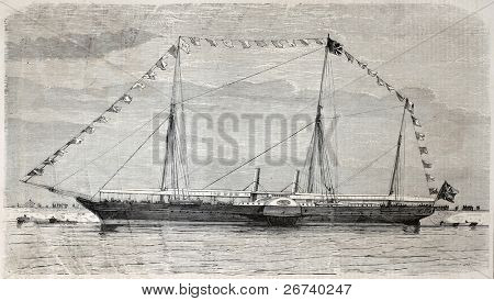 Old illustration of Queen of England yacht, in Le Havre port. By unidentified author, published on L'Illustration, Journal Universel, Paris, 1857