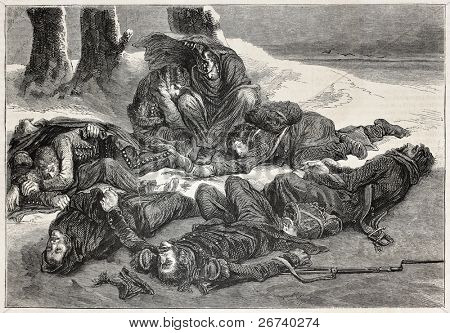 Old illustration of a bivouac. Created by Metz,  published on L'Illustration, Journal Universel, Paris, 1857