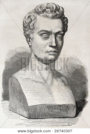 Old illustration of marble bust of Jean-Baptiste Gustave Planche, French art and literary critic. Created by Marc after sculpture of Simat, published on L'Illustration, Journal Universel, Paris, 1857
