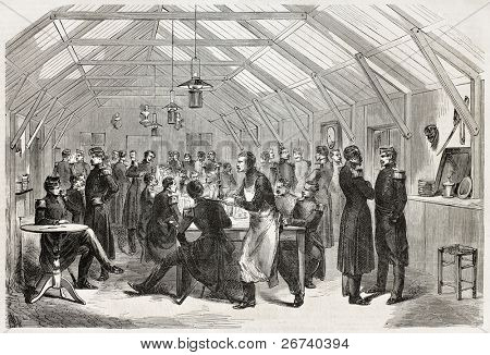 Old illustration of refectory in Chalons camp. Created by Godefroy-Durand, published on L'Illustration, Journal Universel, Paris, 1857