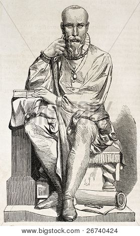 Old illustration of a statue of Ambroise Pare, French surgeon for king Henri II. Created by Varnier, published on L'Illustration, Journal Universel, Paris, 1857