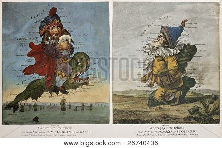 Old caricature maps of England-Wales and Scotland. Created by Dighton, published in London by Bowles and Carver, 1794
