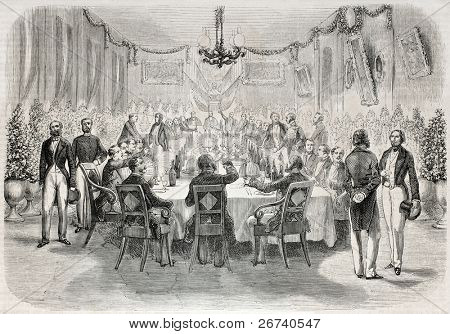 Old illustration of a banquet in Batavia offered by French consul. Created by Engelu, published on L'Illustration, Journal Universel, Paris, 1857