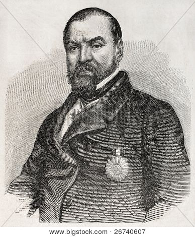 Old engraved portrait of Ignacio Comonfort, President of Mexico. Created by Marc, published on L'Illustration, Journal Universel, Paris, 1857