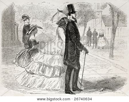 American way of life: old illustration of a couple going to church. Created by Job, published on L'Illustration, Journal Universel, Paris, 1857
