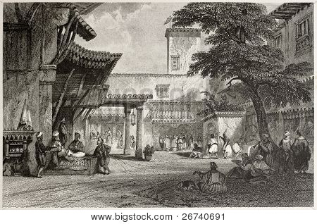 Old illustration of the fig tree Algiers bazaar. Created by Allon and Prior, published on Il Mediterraneo Illustrato, Spirito Battelli ed., Florence, Italy, 1841