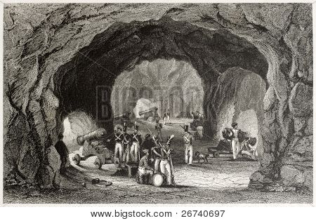 Old view of the defenses of  St George hall, cave filled with cannons, Gibraltar. Created by Salmon and Presbury, published on Il Mediterraneo Illustrato, Spirito Battelli ed., Florence, Italy, 1841