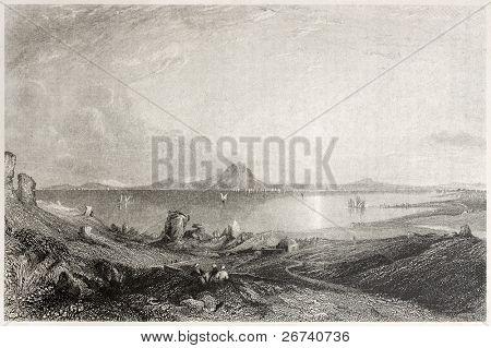 Old illustration of the ruins of Carthage, Tunisia. Created by Salmon and Adlard, published on Il Mediterraneo Illustrato, Spirito Battelli ed., Florence, Italy, 1841
