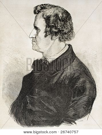 Old engraved portrait of Rauch. Created by Godefroy-Durand, published on L'Illustration Journal Universel, Paris, 1857