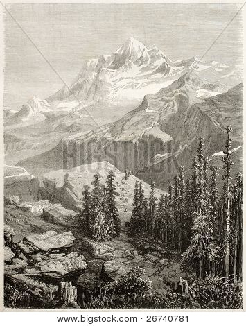 Old view of Gauri Sankar, mountain in Himalayas. Created by Grandsire after Schlagintweit, published on Le Tour du Monde, Paris, 1860