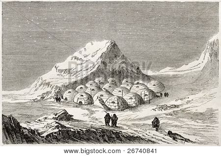 Antiga ilustração de um povoamento esquimó. Criado por Lancelot, publicado em Le Tour du Monde, Paris,