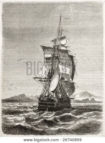 Old illustration of frigate Novara of the Austro-Hungarian Navy. Created by Jules Noel, published on Le Tour du Monde, Paris, 1860
