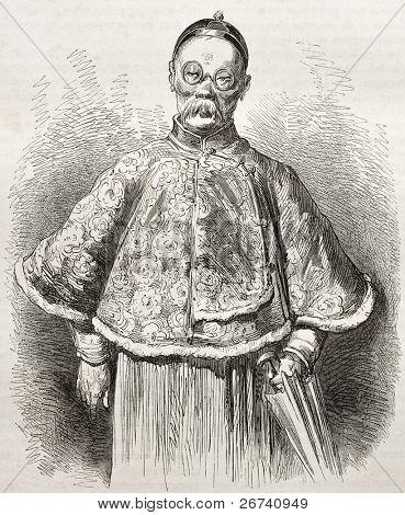 alte Porträt eines chinesischen Händlers. erstellt von Dore nach Trevise, veröffentlicht am le Tour du Monde, Pa