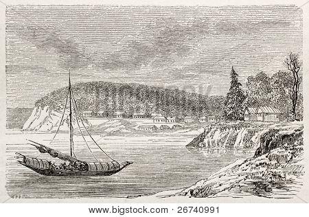 Antiga visão de Aleksandrovsk, na Baía de Castries. Criado por Lancelot, publicado em Le Tour du Monde, P