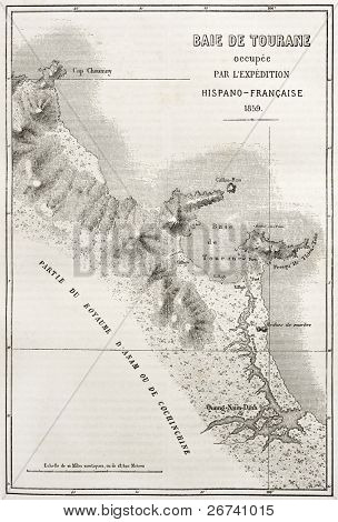 Old illustration of Tourane (nowadays Da Nang) bay map. Created by Erhard and Bonaparte, published on Le Tour du Monde, Paris, 1860