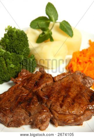 Grilled Beef Ribeye Steak With Vegetables Meal