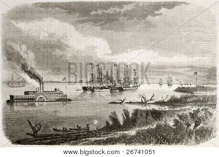 Old view of steamship and tug sailing down the Mississipi. Created by Berard after Reclus, published on Le Tour du Monde, Paris, 1860