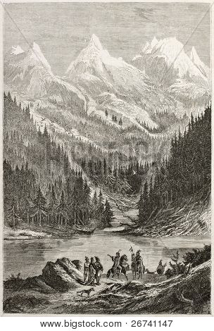 Old view of Lac des Arcs in the Rocky Mountains. Created by Pelcoq after Bourgeau, published on Le Tour du Monde, Paris, 1860