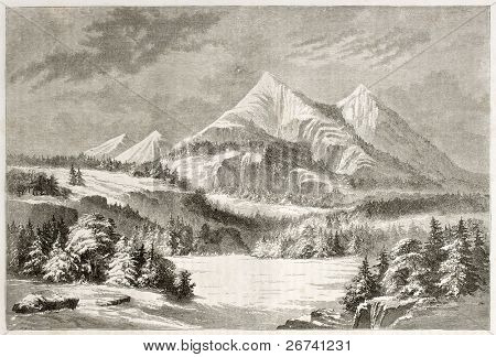 Old view of San Francisco Peaks, Arizona. Created by Lancelot after report made under the direction of the U.S. secretary of the war. Published on Le Tour du Monde, Paris, 1860
