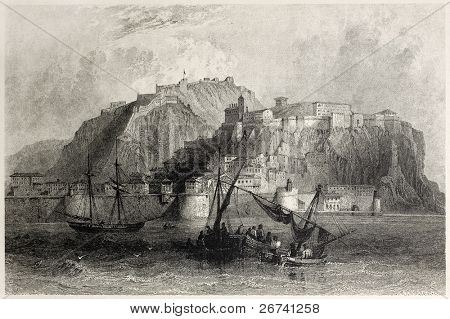 Old view of Nafplio, Peloponnese, Greece. Created by Bartlett and Floyd, published on Il Mediterraneo Illustrato, Spirito Battelli ed., Florence, Italy, 1841