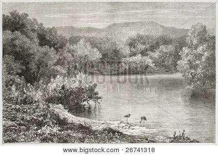 Alte Ansicht des Jordans. erstellt von Daubigny nach Foto des unbekannten Autor, veröffentlicht am le tou