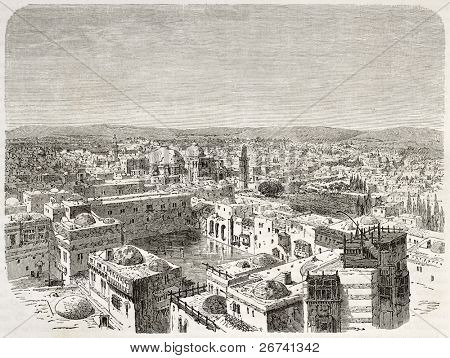 Old bird eye view of Jerusalem. Created by Therond after photo of unknown author, published on Le Tour du Monde, Paris, 1860
