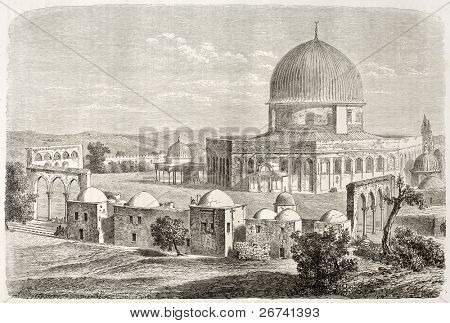 Old view of Al-Aqsa Mosquee, Jerusalem. Created by Lancelot after photo of unknown author, published on Le Tour du Monde, Paris, 1860