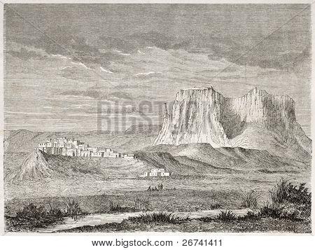 Antiga visão de Zuni Pueblo, Novo México, EUA. Criado por Lancelot após relatório feito sob a direção