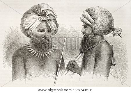 Fijians men old illustration. Viti Levu islands dwellers. Created by Fath after Calvert, published on le Tuou du Monde, Paris, 1860
