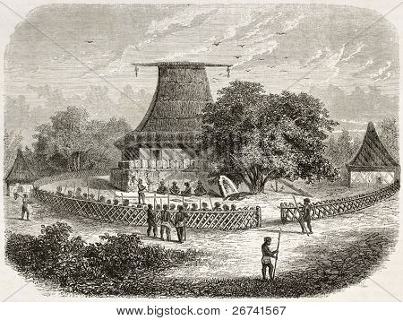 Bure Kalou (spirit house) in Fiji, old illustration: sacred temple and cannibalism scene. Created by De Bar after Williams, published on le Tuou du Monde, Paris, 1860.